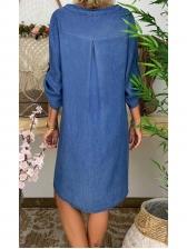 Button Up V Neck Loose Long Sleeve Denim Dress