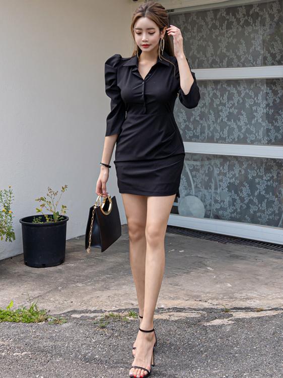 Turndown Neck Puff Sleeve Fitted Black Dress