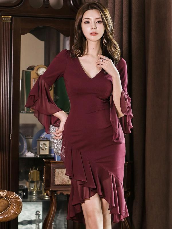 V Neck Ruffled Sleeve Burgundy Bodycon Dress