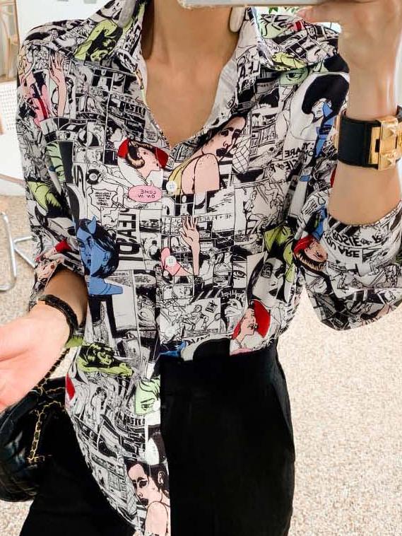 Fashionable Graffiti Single-Breasted Ladies Shirt