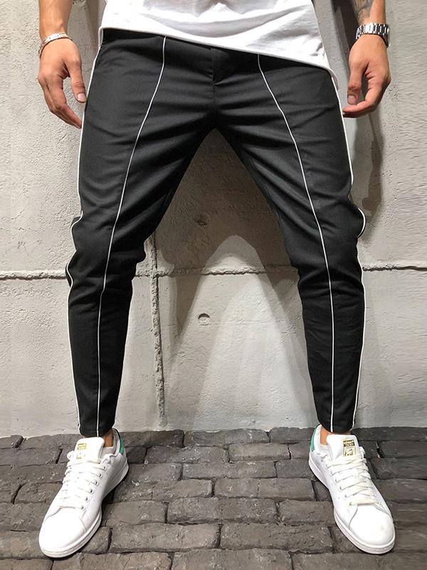 Loose Striped Drawstring Jogger Pants