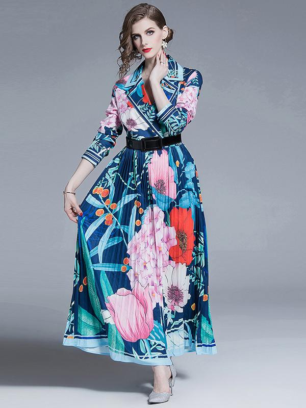 Lapel Collar Printed Pleated Maxi Dress