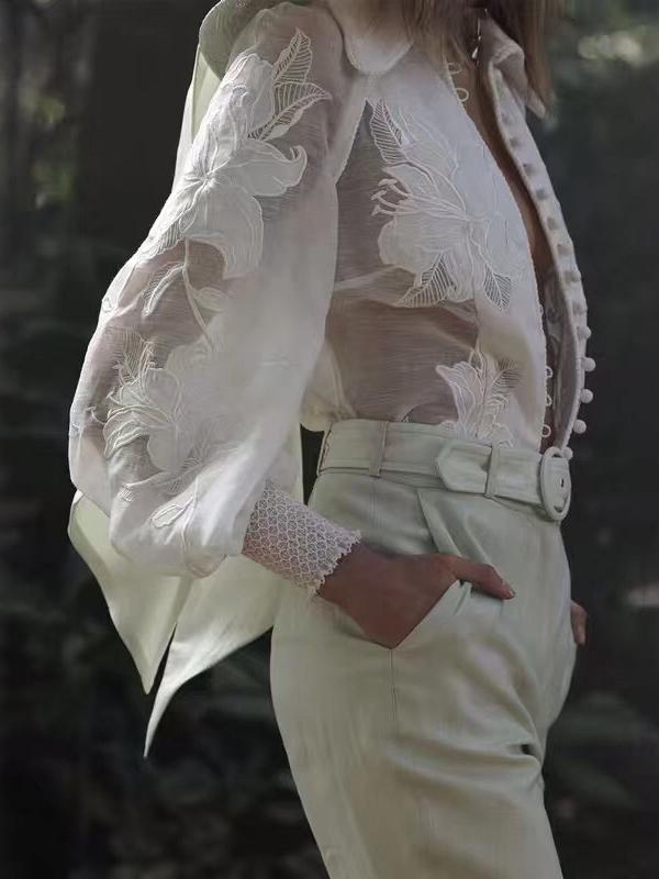 Embroidery Lantern Sleeve Boutique White Blouse