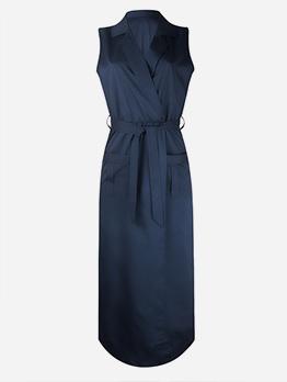 Sleeveless Notch Collar Bow Maxi Dress