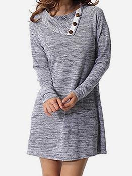Casual Polo Neck Solid Long Sleeve Mini Dress