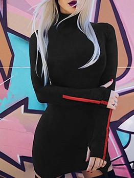 High Neck Irregular Long Sleeve Bodycon Dress