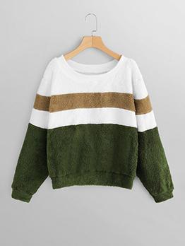 Contrast Color Crew Neck Lambswool Sweatshirt