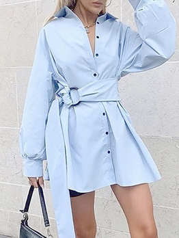 Solid Single-Breasted Long Sleeve Shirt Dress
