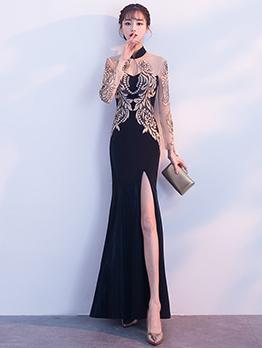 Graceful Split Fishtail Shape Embroidery Party Dresses