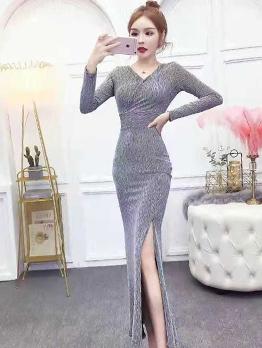 Elegant Solid Split Long Sleeve Maxi Dress