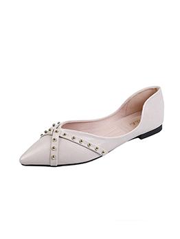 PU Cross Rivet Solid Flat Shoes For Women