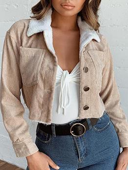 Solid Corduroy Buttom Up Short Ladies Overcoat