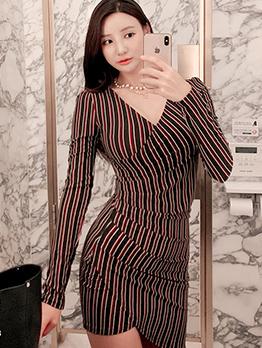 V Neck Striped Bodycon Long Sleeve Dress