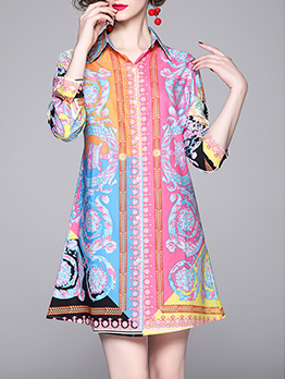 Graduated Color Printed Long Sleeve Shirt Dress