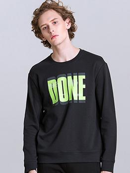 Simple Letter Long Sleeve Mens Sweatshirts