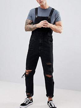 Fashion Denim Ripped SuspenderTrousers
