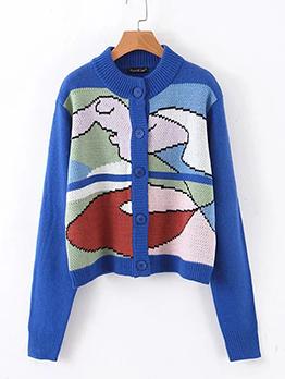 Knitting Doodling Printed Blue Coat