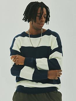 Contrast Color Striped Fleece Sweaters For Men