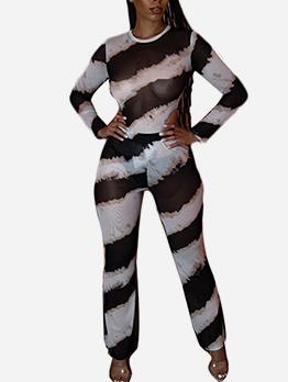 Striped Long Sleeve Skinny 2 Piece Sets