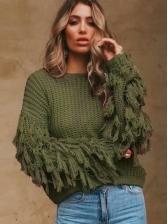 Loose Solid Tassels Long Sleeve Ladies Sweater