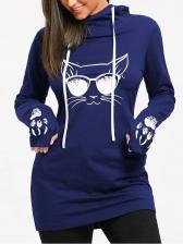 Cat Printed Hooded Collar Plus Size Mini Dress