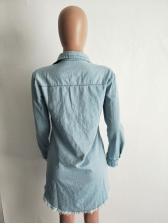 Turndown Neck Tassel Hem Long Sleeve Denim Dress