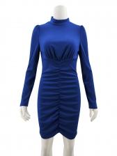 High Neck Puff Sleeve Draped Bodycon Dress