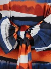 Boat Neck Tie-Wrap Striped Long Sleeve Dress