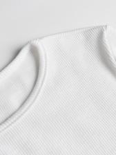 Crew Neck Solid Long Sleeve Crop T Shirt