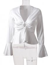 V Neck Flare Sleeve Ladies Blouse