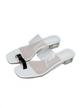 Patchwork Transparent Crystal Heel Peep Toe Sandals