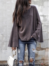 Solid Color Flare Sleeve T Shirts For Women