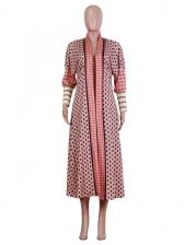 Casual Printed Long Sleeve Long Coat