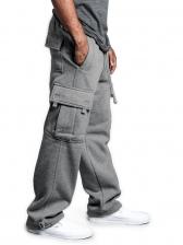 Leisure Straight Pockets Drawstring Cargo Pants