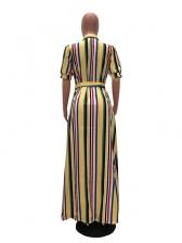 Fashion Contrast Color Short Sleeve Maxi Dresses