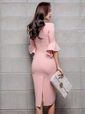 V Neck Flare Sleeve Pink Bodycon Dress