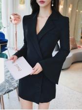 Ladies Solid Button Up Flare Sleeve Blazer Dress