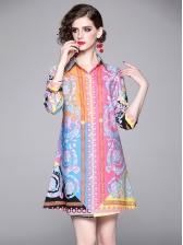 Graduated Color Printed Long Sleeve Shirt Dress