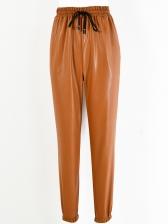 Fashion PU Elastic Waist Solid Long Pant