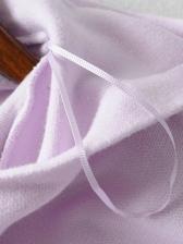 Solid Long Sleeve Short Pullover Hoodie