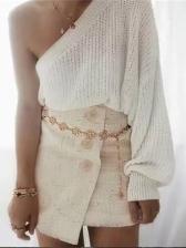 One Shoulder Long Sleeve Knitting Ladies Sweater