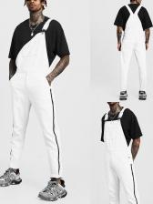 Vintage Cross Belt Denim Distressed Suspender Jeans