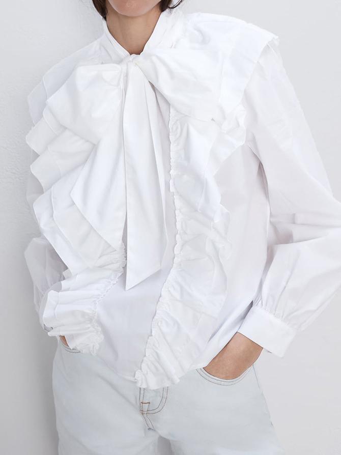 Fashion Tie Neck Long Sleeve White Blouse