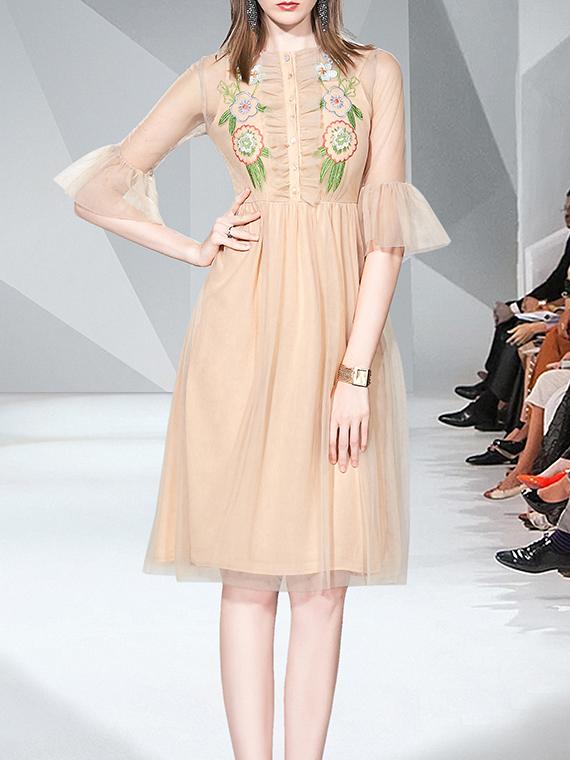 Flare Sleeve Embroidery Gauze a-Line Dress