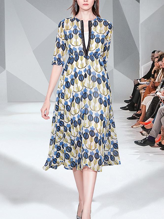 V Neck Printed Smart Waist Half Sleeve Midi Dress