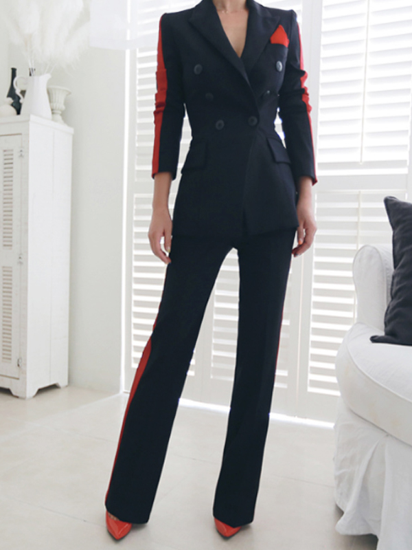 Ol Style Side Line Patchwork Two Piece Suit