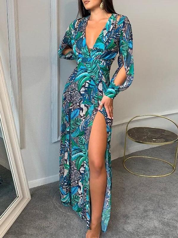 Hot Sale Printed Deep v Maxi Dresses