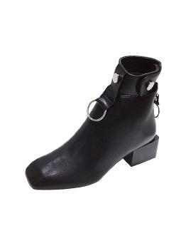Buckle Strap Metal Splicing Zipper Up Black Boots