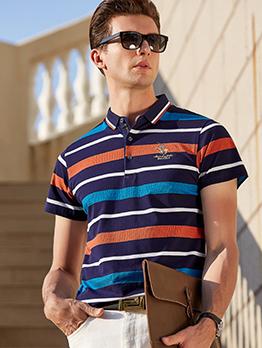 Contrast Color Striped Men Cotton Polo Shirts