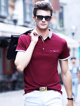 Turndown Collar Plaid Patchwork Men Polo Shirt